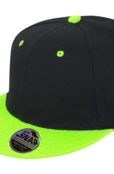 Bronx Original Flat Peak Dual Color von der Marke Result Caps in Black/Lime