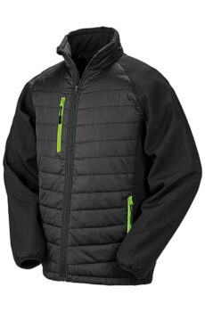 Black Compass Padded Softshell von der Marke Result in Black/Lime