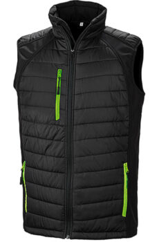 Black Compass Padded Softshell Gilet von der Marke Result in Black/Lime