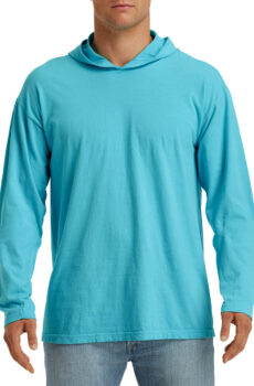 Adult Heavyweight LS Hooded Tee von der Marke Comfort Colors in Lagoon Blue