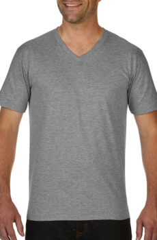 Premium Cotton Adult V-Neck T-Shirt von der Marke Gildan in Sport Grey