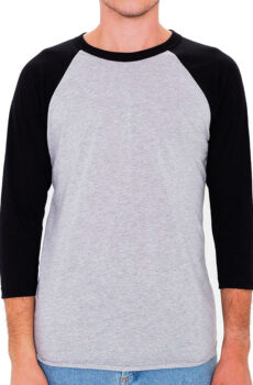 Unisex Poly-Cotton 3/4 Sleeve Raglan T-Shirt von der Marke American Apparel in Heather Grey/Black