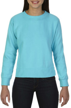 Ladies` Crewneck Sweatshirt von der Marke Comfort Colors in Lagoon Blue