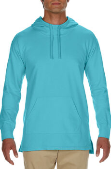 Adult French Terry Scuba Hoodie von der Marke Comfort Colors in Lagoon Blue