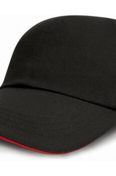 Brushed Cotton Sandwich Cap von der Marke Result Caps in Black/Red