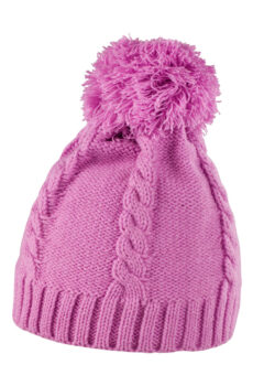 Cable Knit Pom Pom Beanie von der Marke Result Caps in Pink