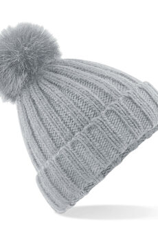 Verbier Fur Pop Pom Chunky Beanie von der Marke Beechfield in Light Grey