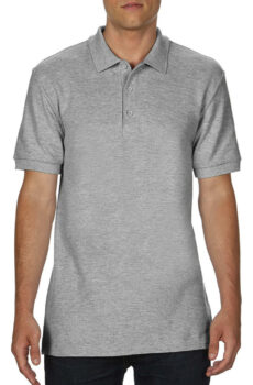 Premium Cotton Double Piqué Polo von der Marke Gildan in Sport Grey