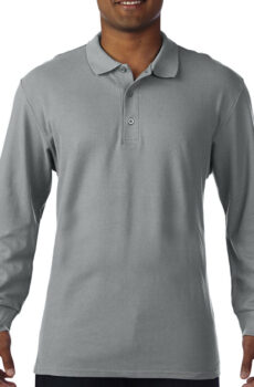 Premium Cotton Adult Double Piqué Polo LS von der Marke Gildan in Sport Grey