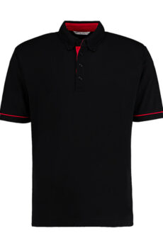 Classic Fit Button Down Contrast Polo Shirt von der Marke Kustom Kit in Black/Red