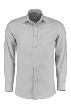 Tailored Fit Poplin Shirt von der Marke Kustom Kit in Light Grey