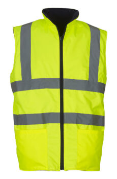 Fluo Fleece Reversible Bodywarmer von der Marke Yoko in Fluo Yellow