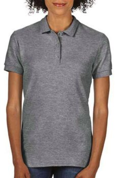 Premium Cotton Ladies` Double Piqué Polo von der Marke Gildan in Graphite Heather