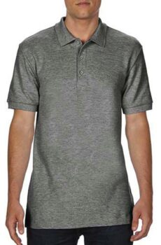 Premium Cotton Double Piqué Polo von der Marke Gildan in Graphite Heather